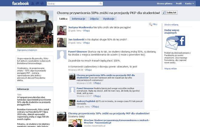 Grupa ''Chcemy przywrócenia 50% zniżki na przejazdy PKP dla studentów!'' na facebooku.