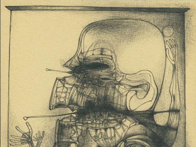 Fragment rysunku Beksińskiego z 1965 roku