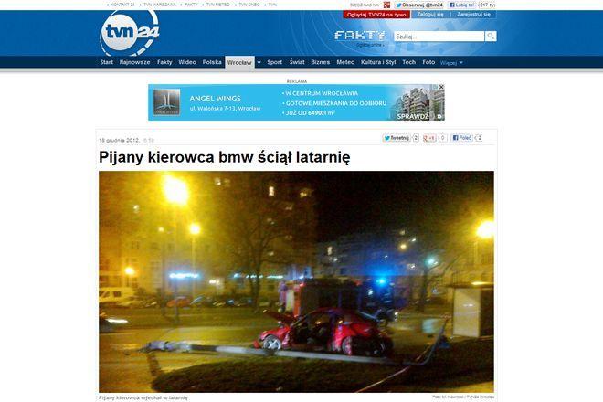 Zdjęcia z miejsca wypadku pokazała stacja TVN24