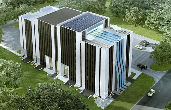 Na dachu rozbudowanego biurowca spółki Ultranet znajdzie się basen
