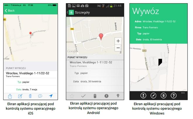 Aplikacja Kiedy Wywóz jest dostępna na trzy systemy operacyjne