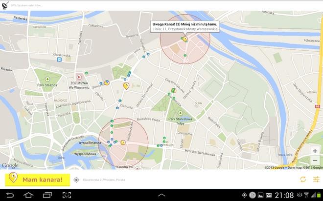Aplikacja Mam Kanara pokazuje na mapie, gdzie można spotkać kontrolera biletów