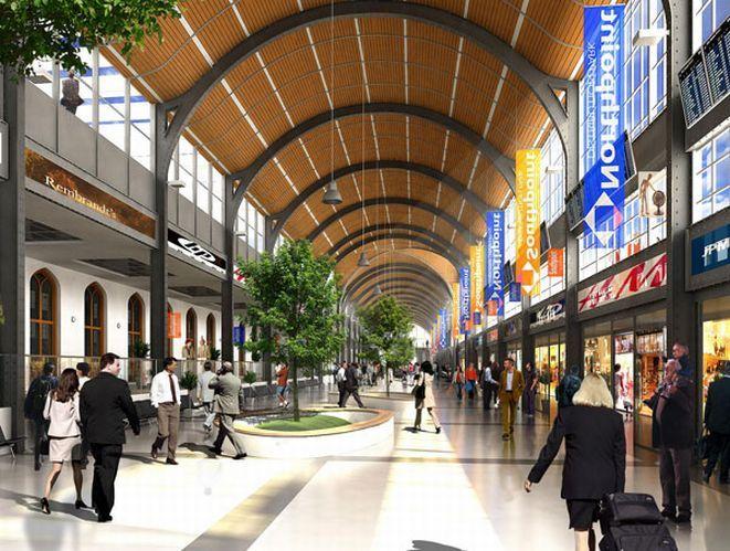 Wizualizacja odnowionego wnętrza Dworca Głównego.