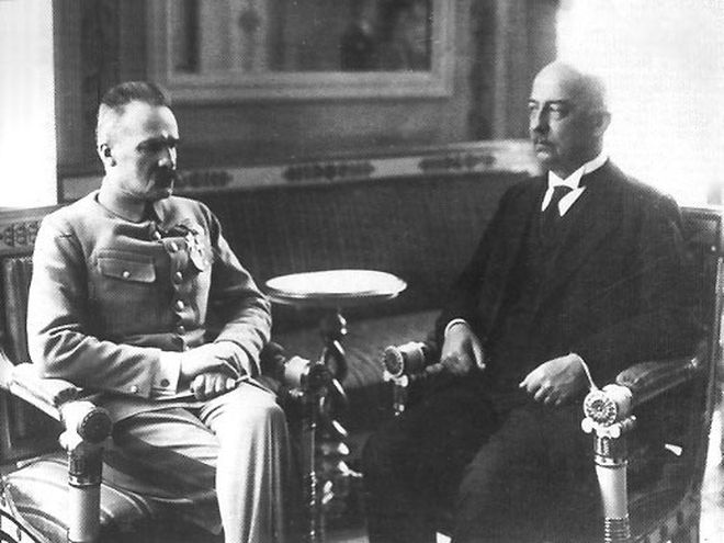 Gabriel Narutowicz (na zdjęciu z prawej) i Józef Piłsudski