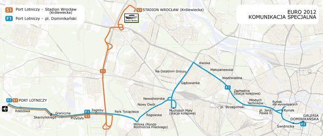 Schemat komunikacji dodatkowej obsługującej wrocławskie lotnisko