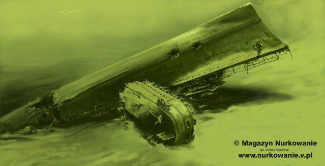 Szkic wraku OPR Grom autorstwa Andrzeja Rutkowiaka.