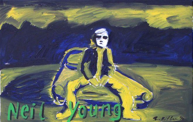 Zdzisław Nitka, ''Neil Young'', 2010, olej płótno, 45x70cm.
