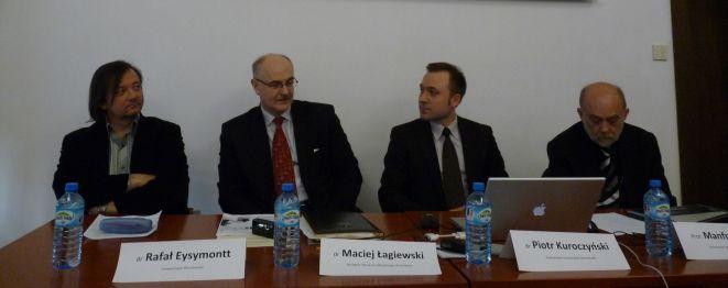 Od lewej: dr Rafał Eysymontt, dr Maciej Łagiewski, dr Piotr Kuroczyński ora prof. Manfred Koob.