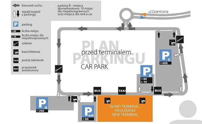 Plan parkingu przed nowym terminalem