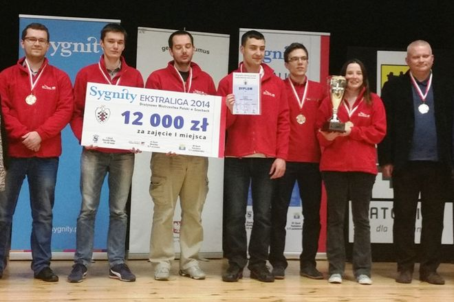 Złoci medaliści - szachiści Polonii Wrocław