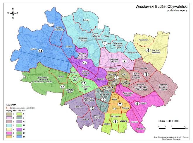 Podział na 14 rejonów WBO