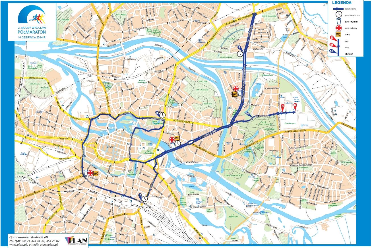 Trasa drugiego nocnego półmaratonu Wrocław [kliknij, aby powiększyć]