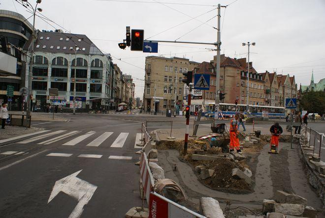 W tym miejscu będzie brama rowerowa na ul. Ruskiej. Jednoślady z tego miejsca pojadą prosto