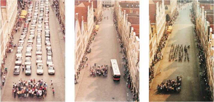 Na zdjęciu ''eksperyment'' z Munster: grupa ludzi jest taka sama, w trzech różnych przypadkach widać ile miejsca na ulicy zabierają pojazdy, którymi się poruszają.