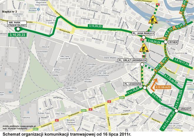 Zmiany wprowadzane od 16 lipca (mapa nr1).