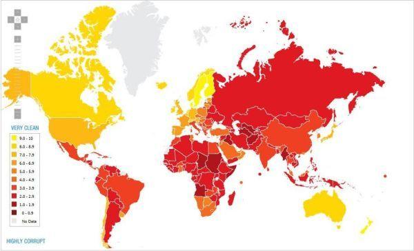 Mapa obrazująca nasilenie zjawiska korupcji na świecie.
