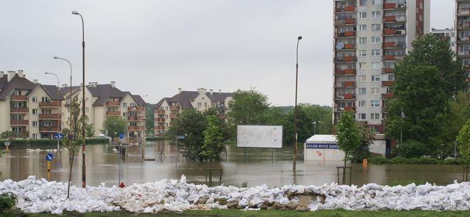 Zalany Kozanów. Widok na budynki przy Ignuta. Maj 2010