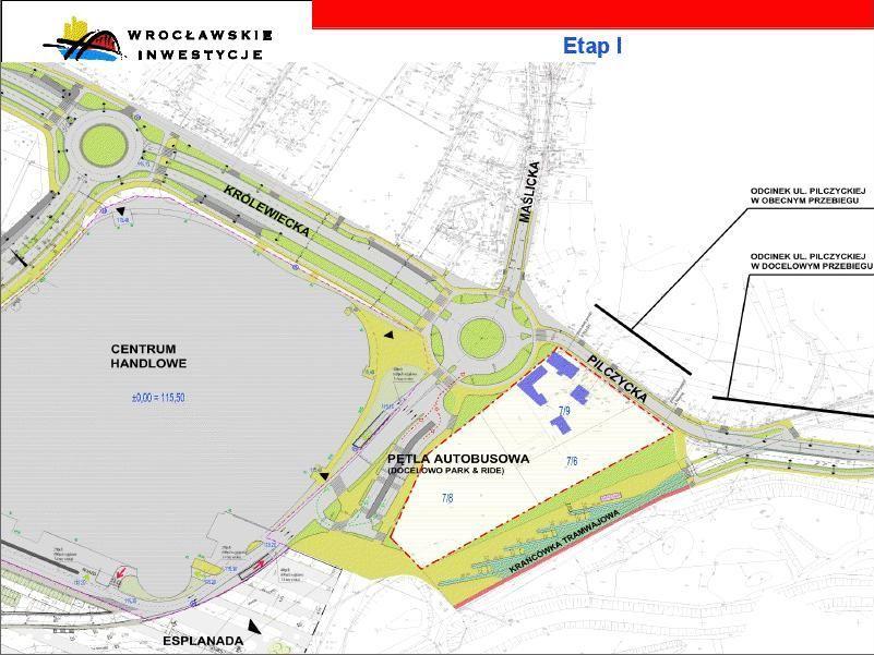 Przeprojektowane okolice ul. Królewieckiej na północ od stadionu. Teren p. Krzywdów zaznaczony przerywaną czerwoną kreską.