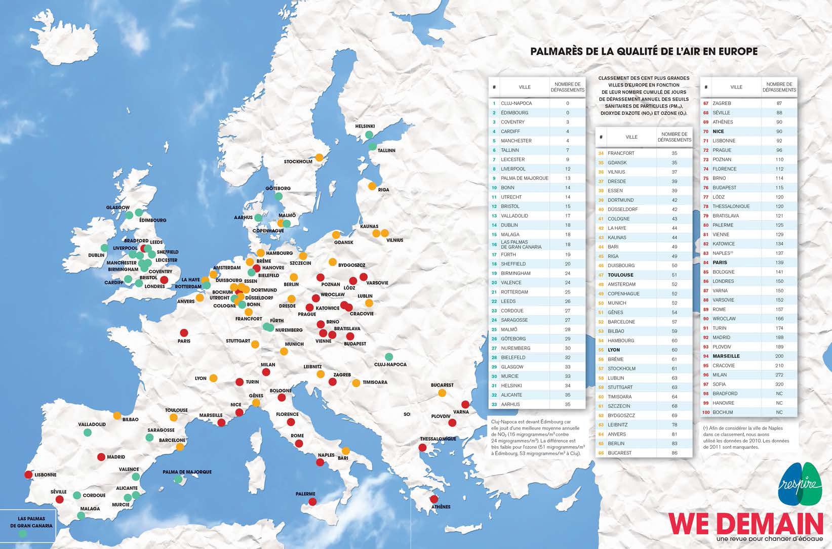 Mapa najmniej i najbardziej zanieczyszczonych miast w Europie [kliknij, aby powiększyć]