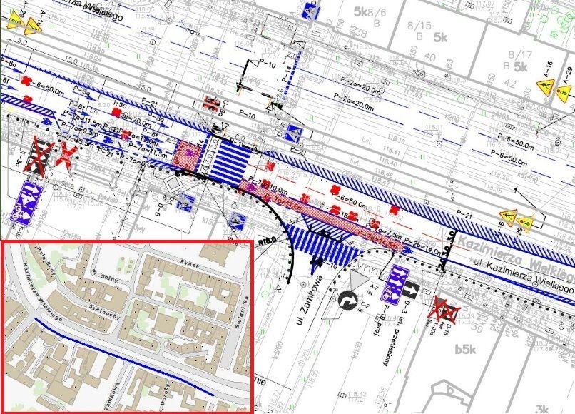 To chyba pierwszy przykład we Wrocławiu, gdzie zabrano pas samochodom (przed rozpoczęciem budowy przejścia miały tu trzeci pas tzw. prawoskręt) a dano go rowerom.