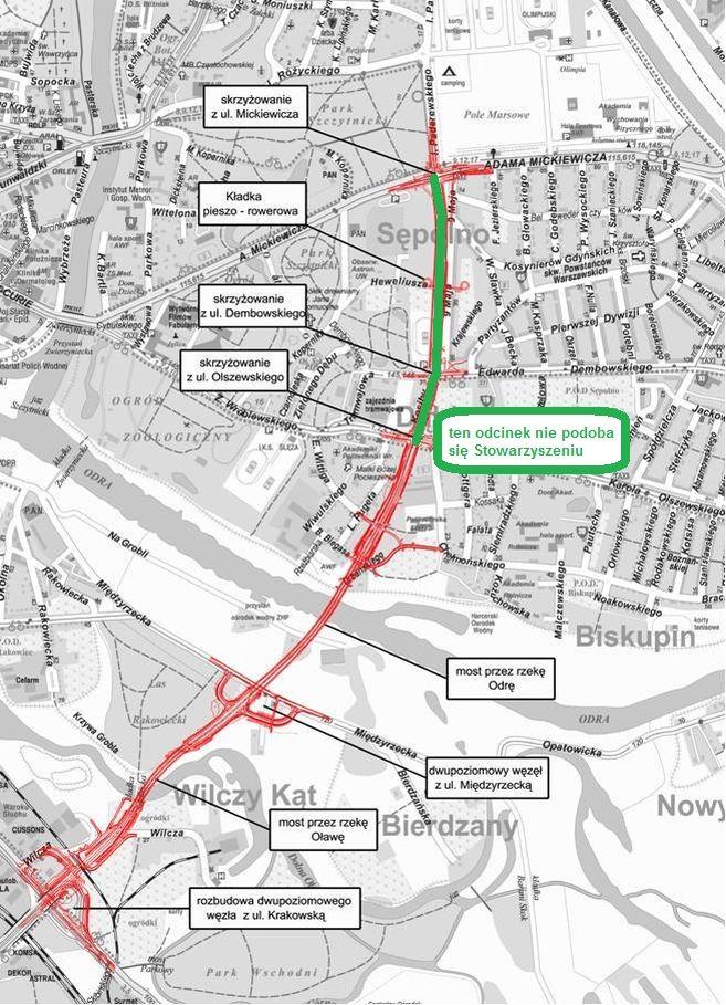 Odchudzony most Wschodni będzie miał po jednym pasie w każdą stronę, na podstawie mapy Wrocławskich Inwestycji