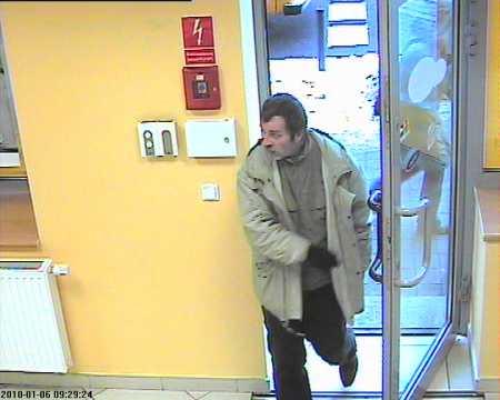 Mężczyzna, który napadł na placówkę bankową przy ul. Piastowskiej.