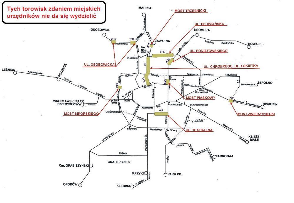 Oto mapa z zaznaczonymi torowiskami, o których UM stwierdził, że wydzielał ich nie będzie. Jak widać odcinka Podwala między pl. Orląt Lwowskich a Jana Pawła II tu nie ma.