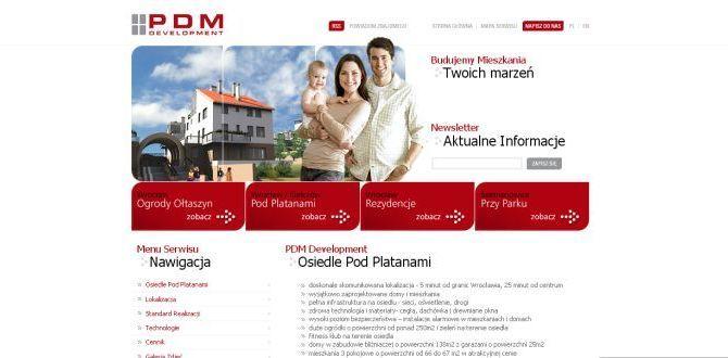Strona PDM Development, gdzie firma zachwalała powstające na Kiełczowie Osiedle Pod Platanami.