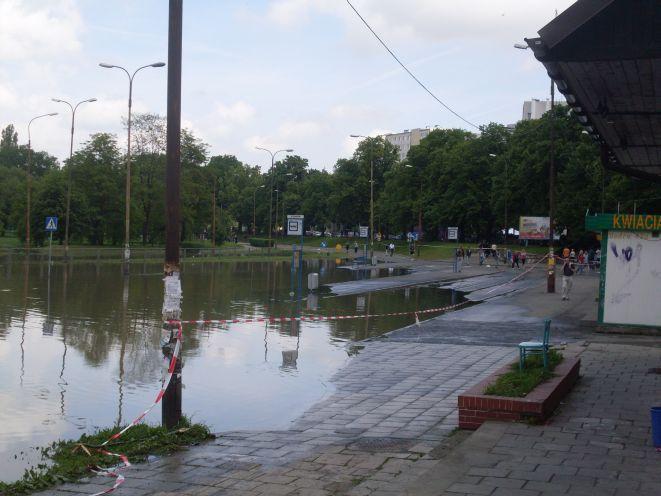 Na pętli przy ul. Kozanowskiej wciąż stoi woda.