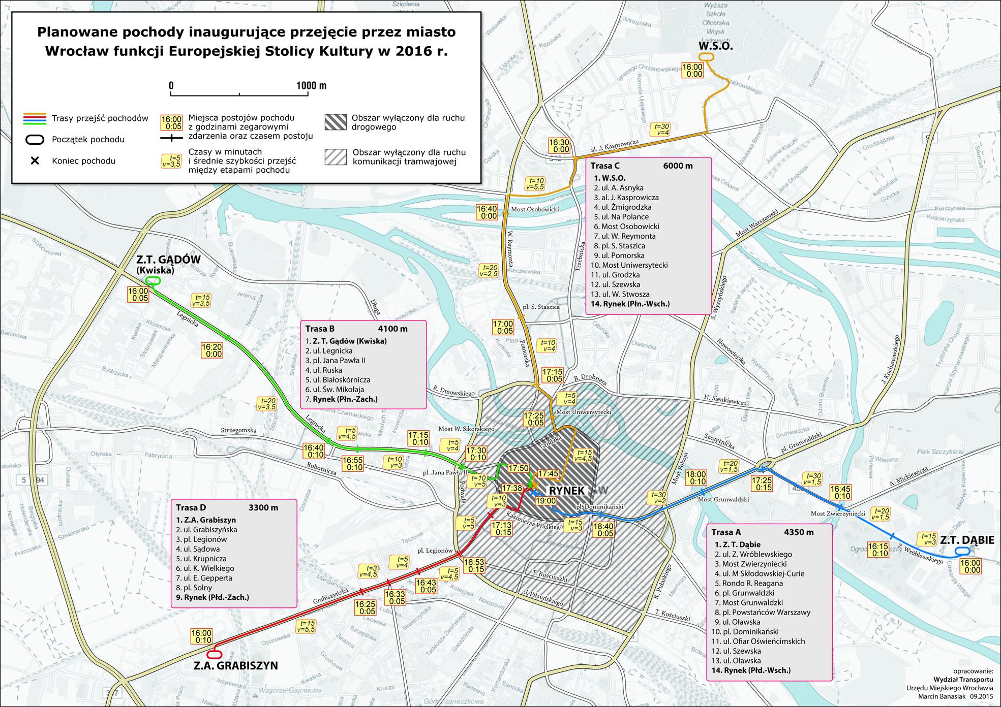 Trasy pochodów, które przejdą przez Wrocław w niedzielę [KLIKNIJ, ABY POWIĘKSZYĆ]
