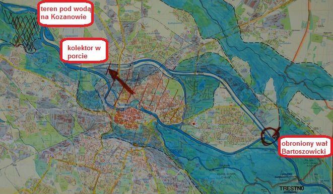 Na niebiesko jest zaznaczony zasięg podtopień z 1997 roku, zakreskowany teren zalany na Kozanowie oraz Śródmieście, które znalazłoby się pod wodą, gdyby służby nie obroniły uszkodzonego kolektora ściekowego w porcie rzecznym.