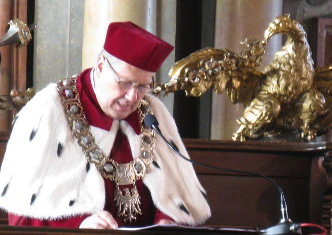 Rektor Marek Bojarski podczas wrocławskiego Święta Nauki.