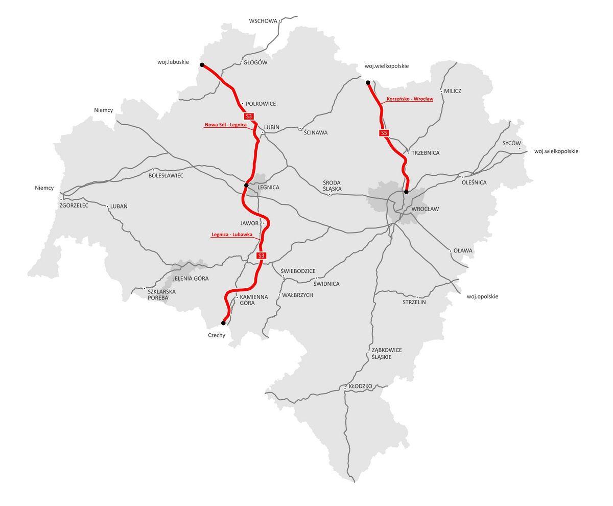 Dolnośląski odcinek drogi S5 będzie miał 48 kilometrów