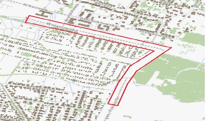 Zakres planowanej inwestycji na ulicy Wojanowskiej