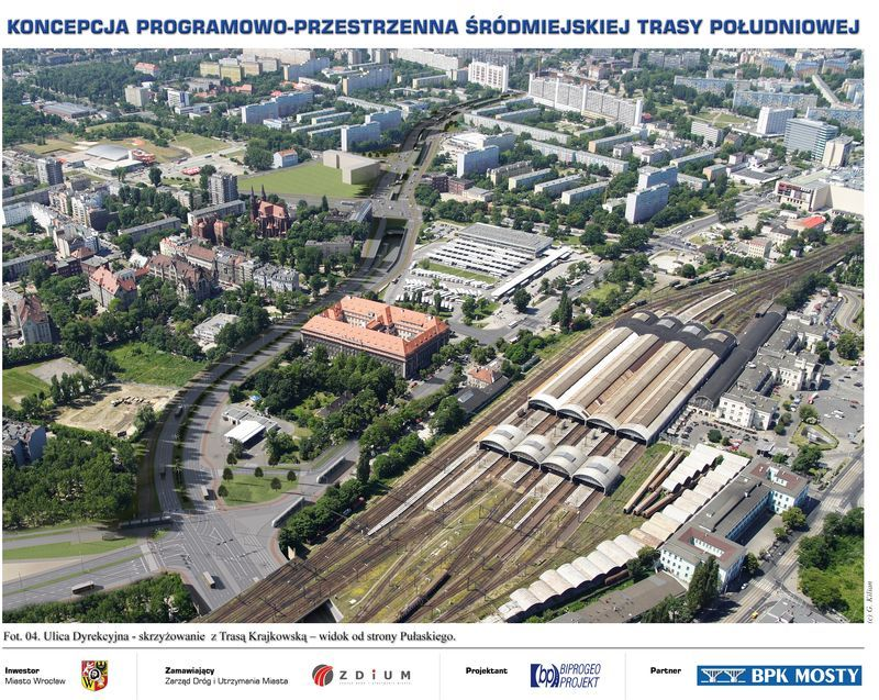 Widok trasy w okolicach dworców PKP i PKS. Widać wlot do tunelu na wysokości ul. Borowskiej.
