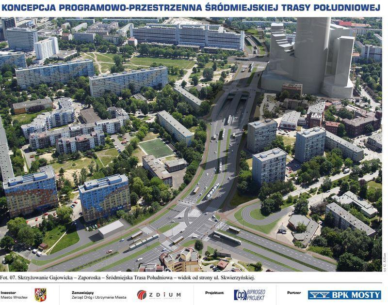 Skrzyżowanie w pobliżu Sky Tower oraz dzisiejsze rondo Gajowicka/Zaporoska. Zwróćcie uwagę, że Zaporoska jest tu ślepą ulicą.