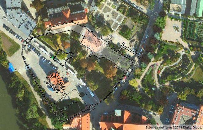 Widok lotniczy nazabudowania klasztorne