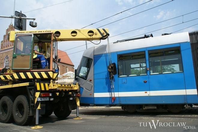 We Wrocławiu tramwaje stosunkowo często wypadają z szyn