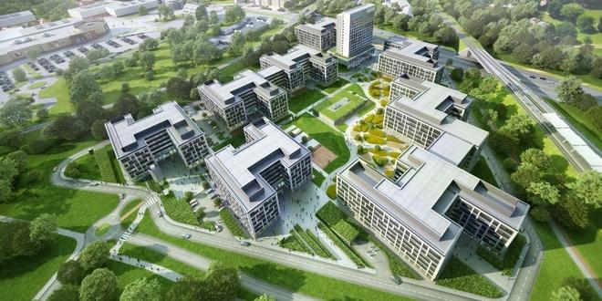 Docelowo Business Garden Wrocław składać się będzie z ośmiu budynków biurowo-usługowych oraz hotelu