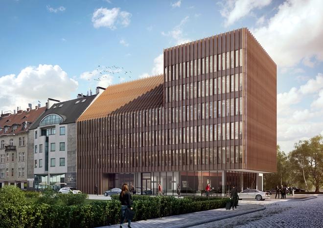 Tak będzie wyglądać nowy biurowiec PZU przy ulicy Komandorskiej. Jego budowa już trwa