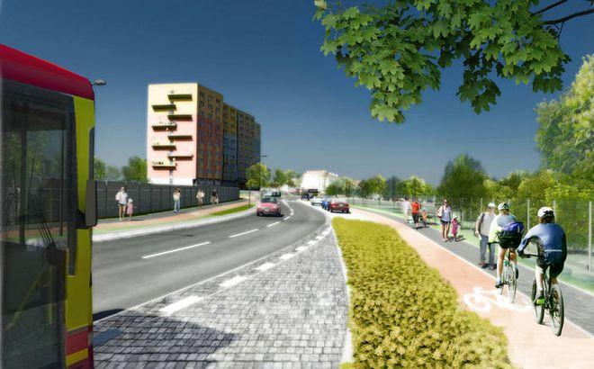 Przy drodze nie zabraknie ścieżek rowerowych i szerokich chodników dla pieszych