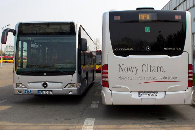 Ostatnio MPK w maju zakupiło dwa nowe srebrne mercedesy citaro, które wcześniej były pojazdami testowymi