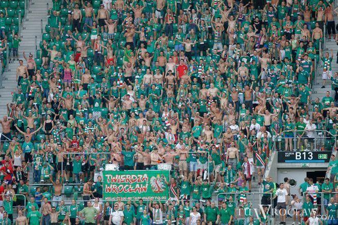Fani w czasie meczu Śląsk-Jagiellonia, 28 lipca 2013